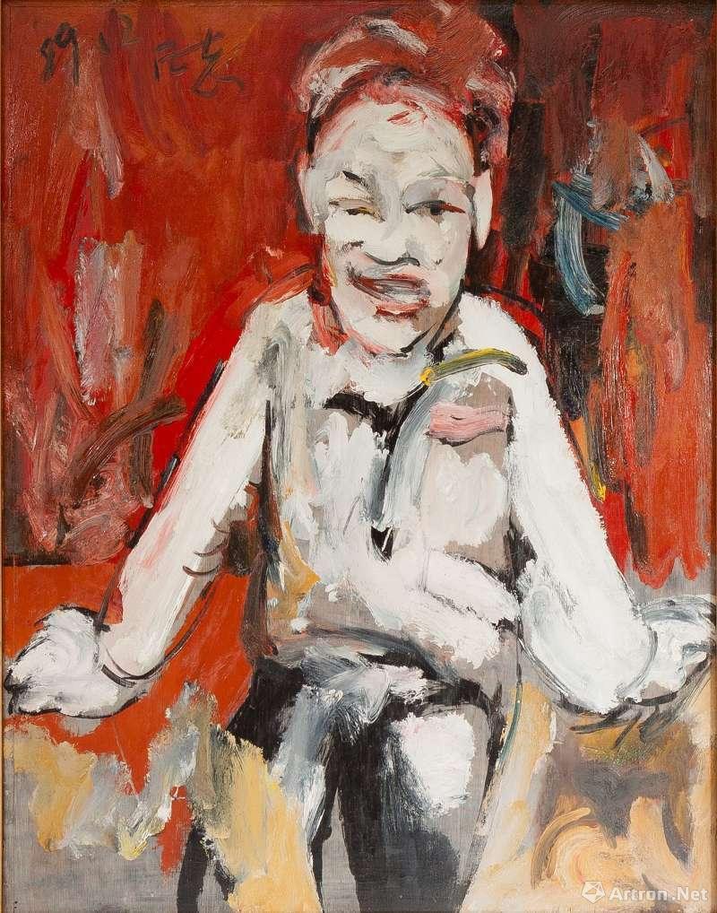 《欢笑的贝克宁》,油彩木板,77 x 61cm,1989 ©曾梵志,图片:艺术家、豪瑟沃斯