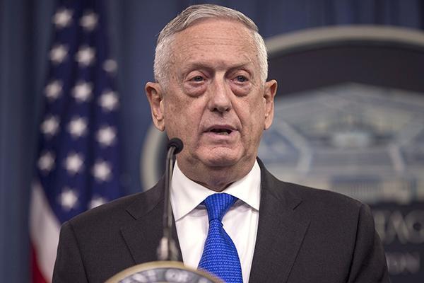 美防长马蒂斯:下周将在华盛顿与中国防长会面