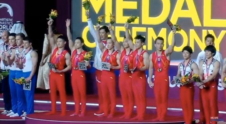 中国体操男团摘金俄日分获二三名 提前获东京奥运资格