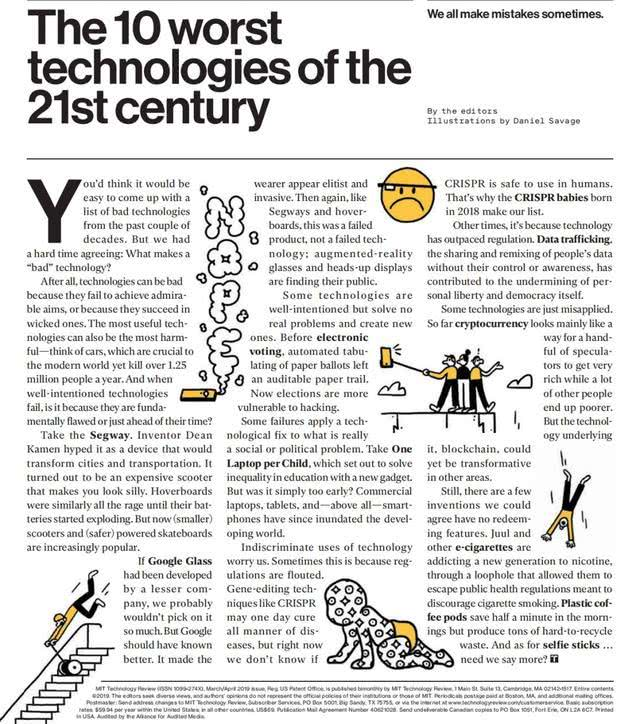 """《麻省理工科技评论》发布""""21世纪迄今十大最糟科技"""""""