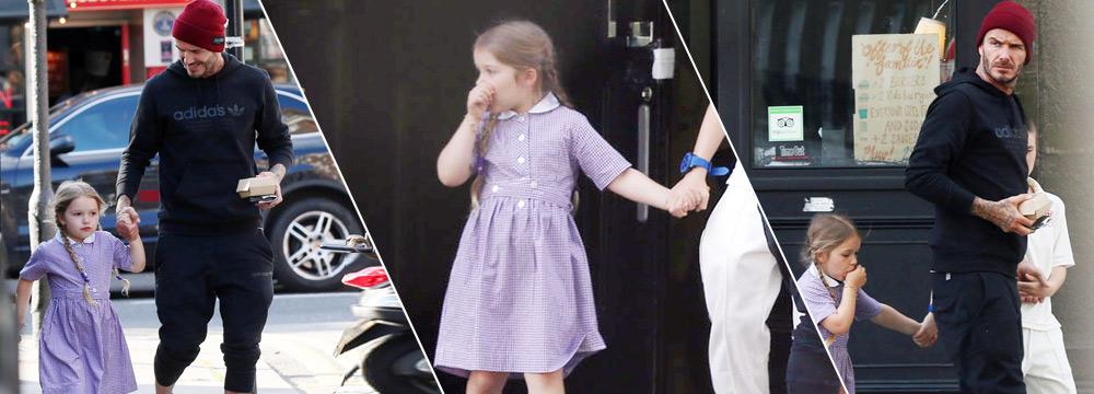 小贝带娃买汉堡 4岁小七打扮淑女却在吸手指