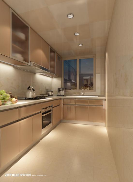 """安华瓷砖""""芭提雅""""装修效果图 狭小的厨房空间可以运用良好的光照条件"""