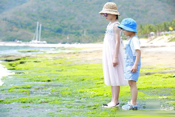 【星娱TV】田亮晒儿女海边度假照 森碟和弟弟美得像一幅画(图)