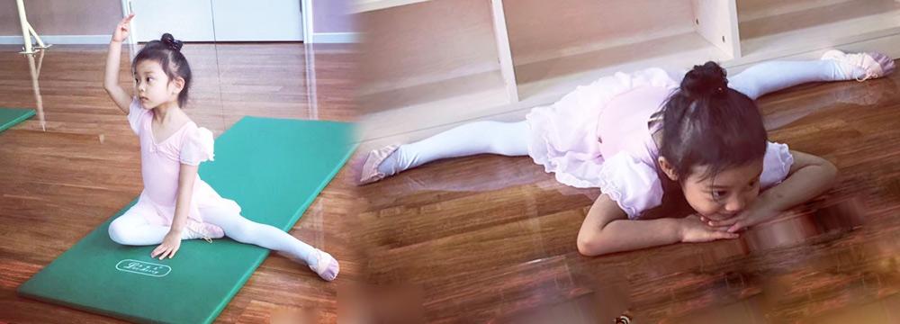 芭蕾公主!甜馨穿粉裙练舞 趴在地上轻松一字马