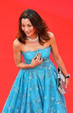 杨紫琼蓝裙优雅