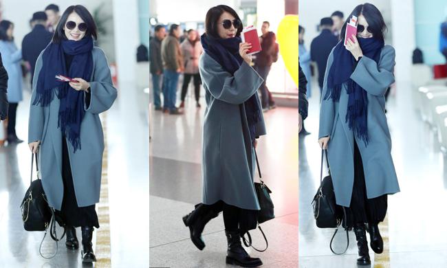 圆圆女神自带清新气质 把灰蓝色大衣穿得如此脱俗
