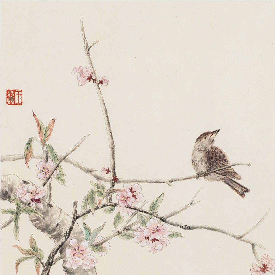 王蕊----樱花小鸟图(30cm*30cm)图片