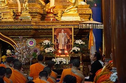 西双版纳僧团在总佛寺为泰国先王普密蓬办追思法会