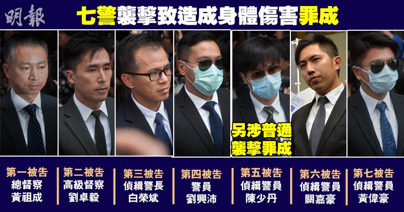 """香港警察殴打""""占中者""""案今日裁决:7人全被定罪"""