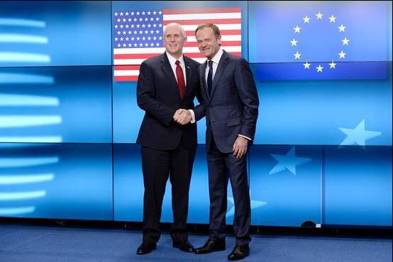 """美副总统""""示好""""欧盟:我们对你的承诺坚定而持久"""