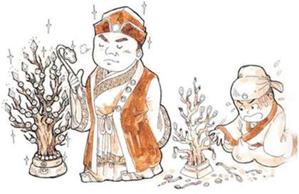 古代喝酒手绘图片