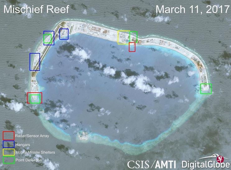美称中国在南海岛礁主要军事设施全面完工 外交部回应
