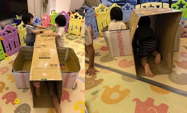 林志颖用纸箱做山洞 儿子们玩得超开心(图)