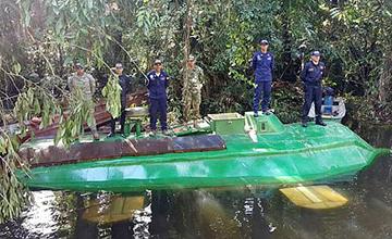 哥伦比亚首次发现运毒潜艇 可载4吨毒品