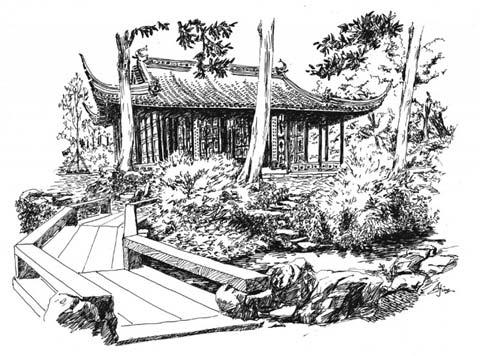 古典园林梅花手绘
