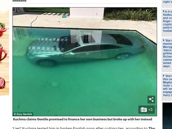 银行家甩嫩模女友 回家见爱车沉在游泳池底