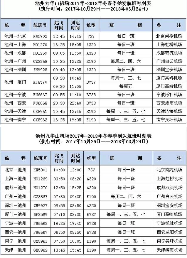 生活  池州—北京南苑,北京南苑—池州航线执飞时间为10月