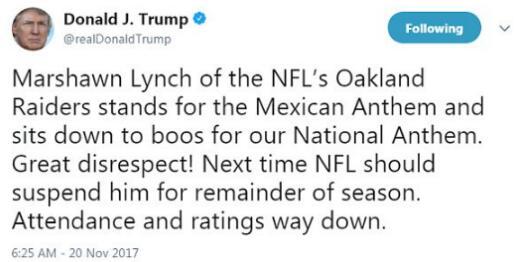 美国NFL球员比赛期间再次抗议国歌 特朗普暴怒
