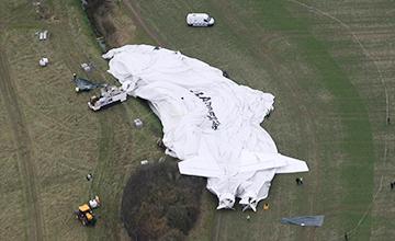 """世界最大飞行器""""天空登陆者""""坠机画面"""