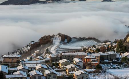 大雾弥漫 瑞士南部宛若仙境