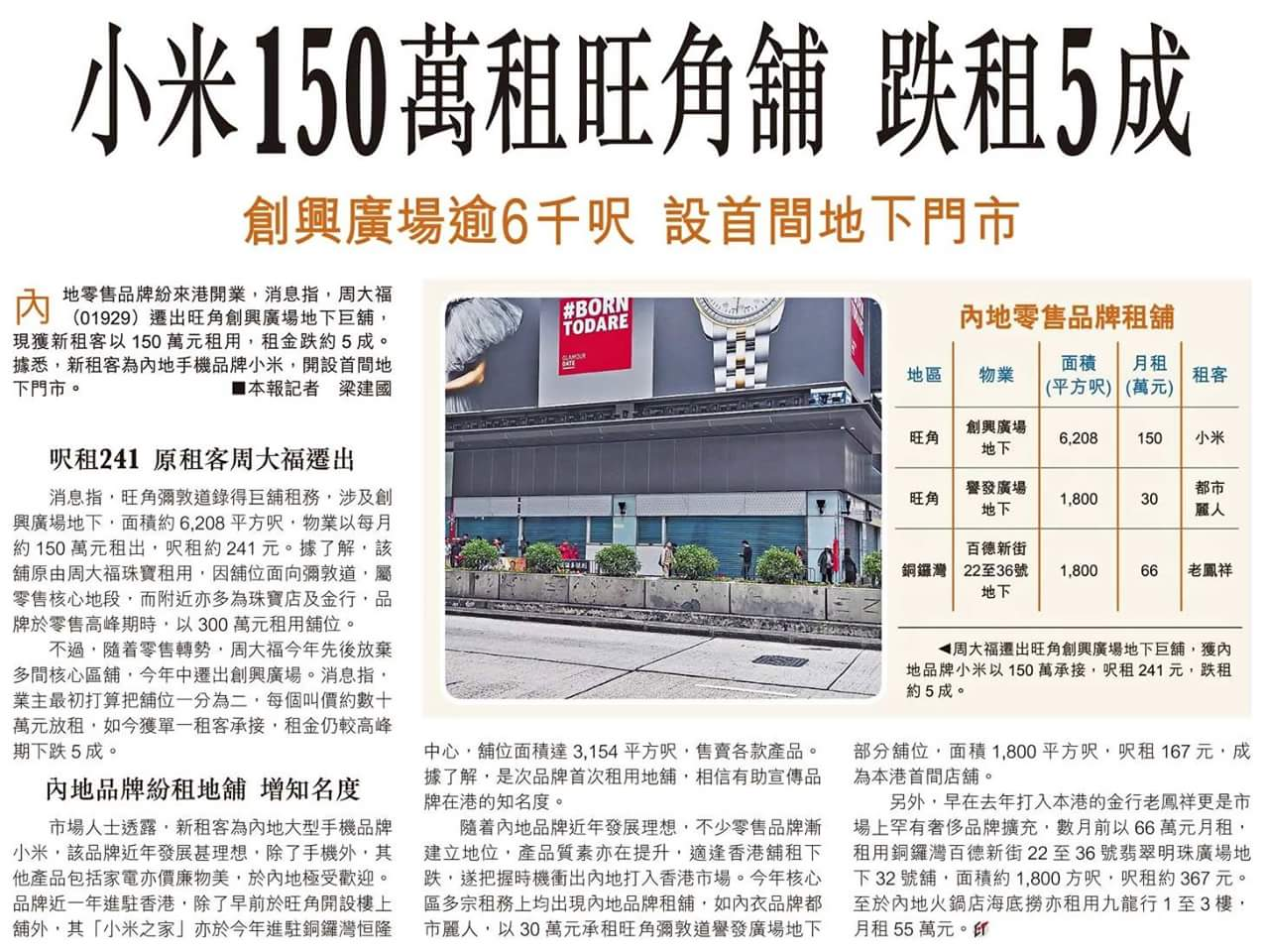 小米租下旺角商铺 首家香港地下门店将开业