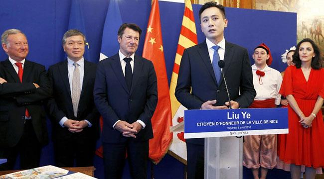 """刘烨全票当选法国尼斯""""荣誉市民"""" 全球仅33人"""