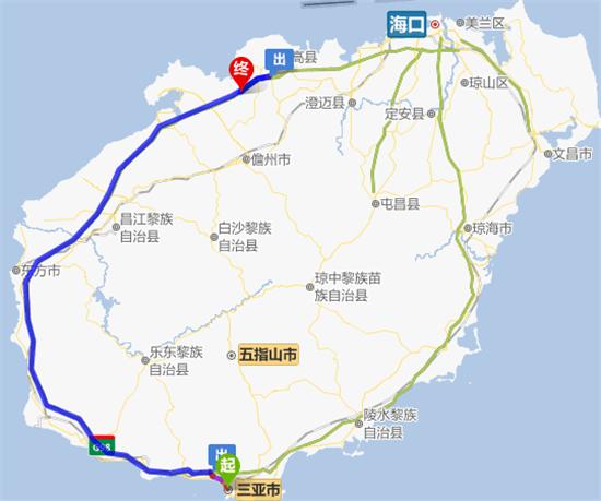 海口市区-延海南环岛高速公路行驶78公里靠右进入新盈互通-光村*南宝