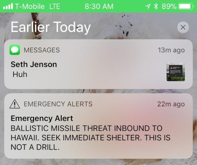 """夏威夷误报""""导弹来袭不是演习"""" 民众一时陷恐慌"""