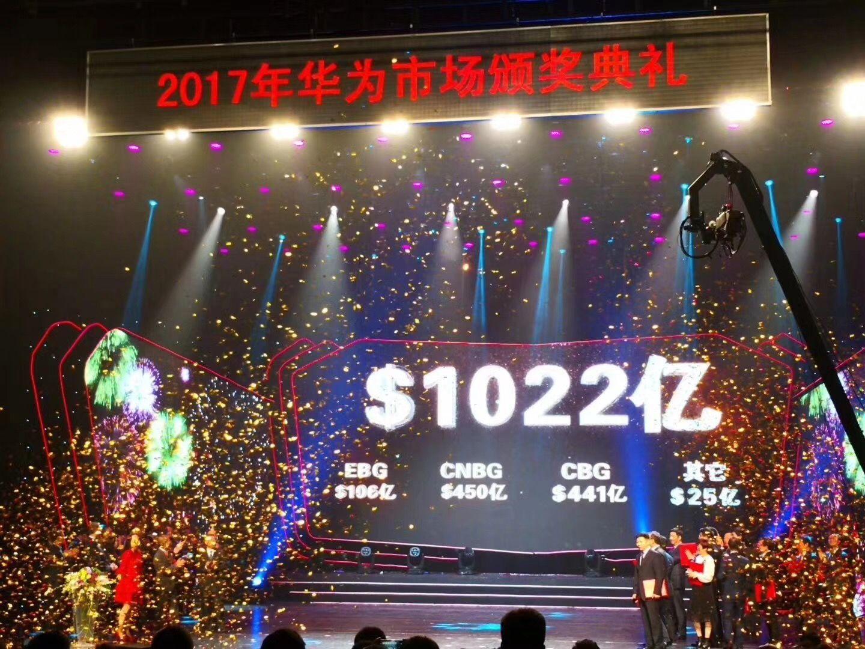 华为公司公布2018年营收目标:1022亿美金