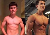 17岁男孩健身后惊人变化