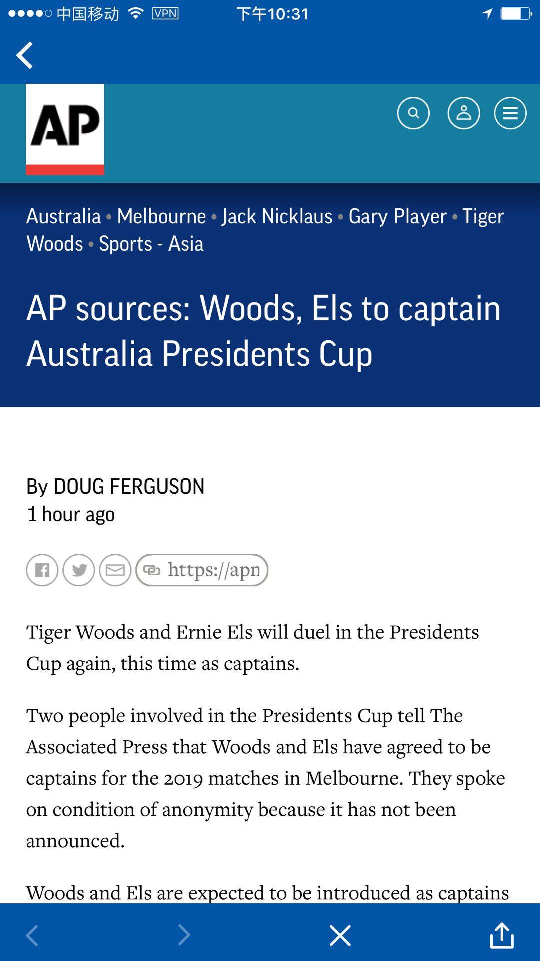 美联社:伍兹携埃尔斯将出任2019年总统杯队长