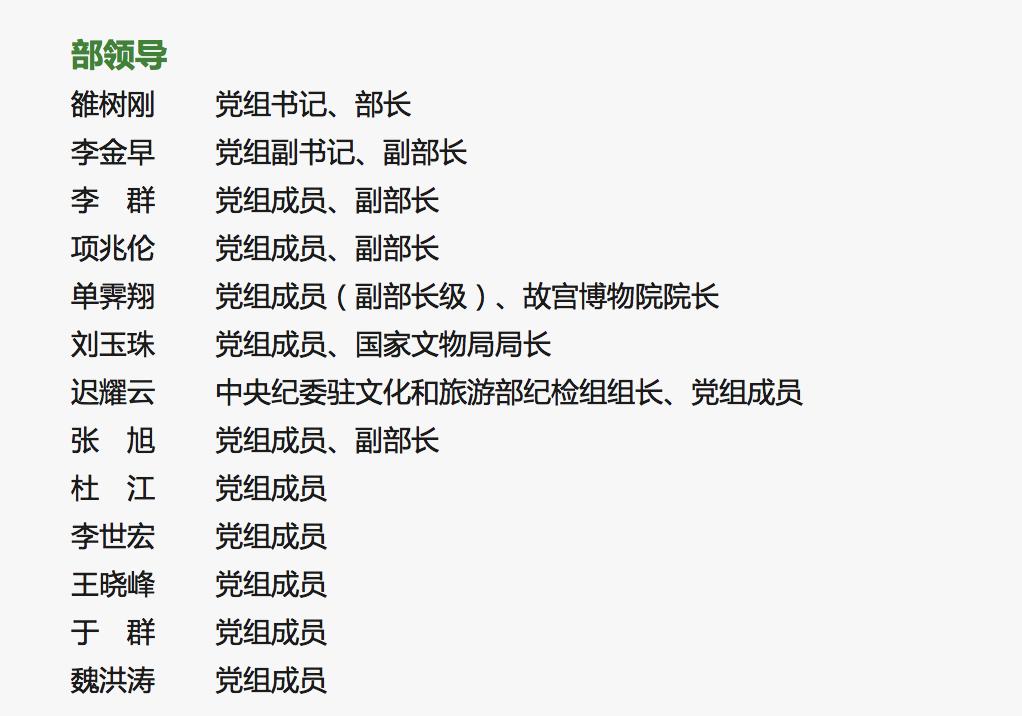 文化和旅游部领导名单出炉:雒树刚任部长、李金早任副部长