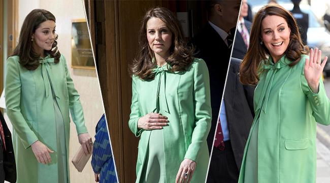 下月就生产 凯特王妃挺孕肚依旧高跟鞋秀美腿