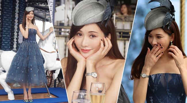 43岁林志玲穿公主裙托腮显少女气 酥胸若隐若现