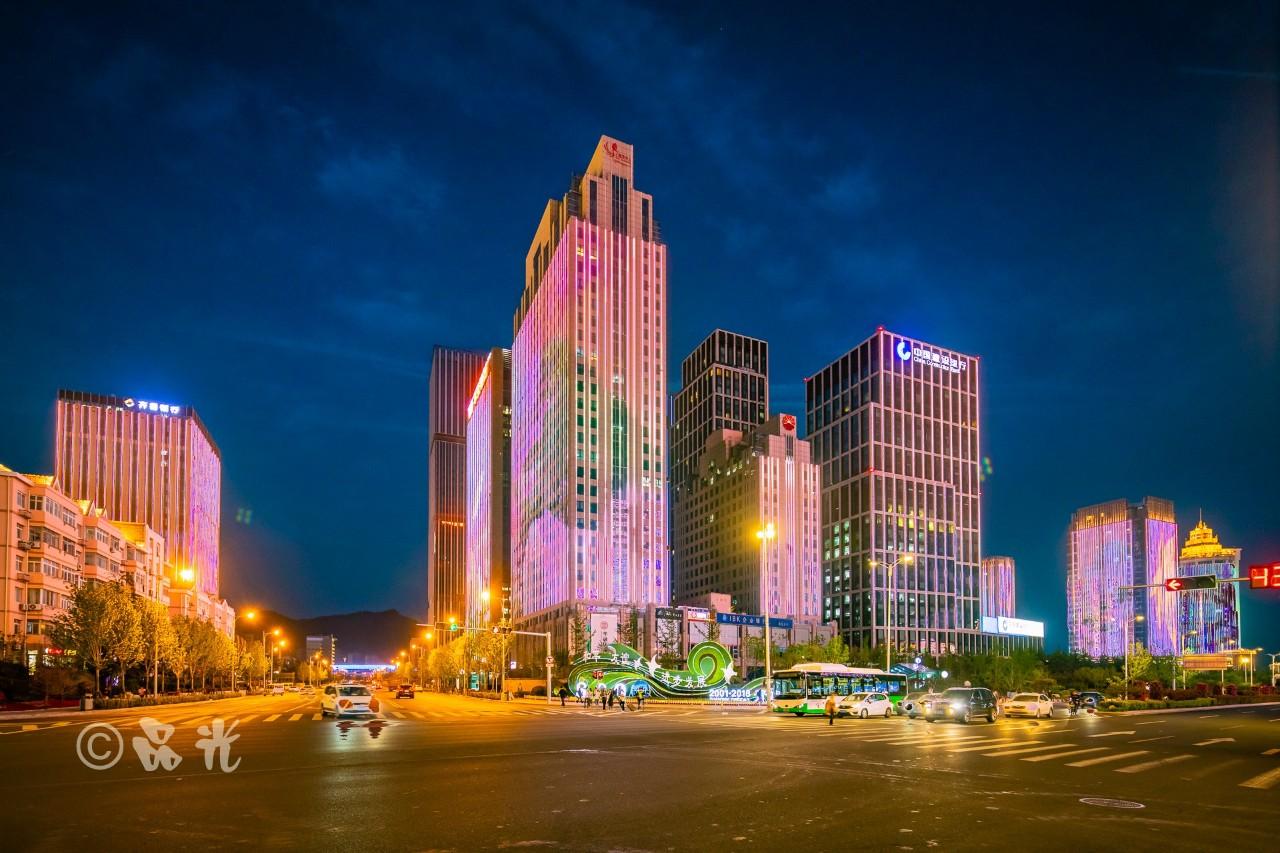 区政府亮化: 崂山世纪广场: 丽达广场: 金融中心: 农业银行: 凯悦