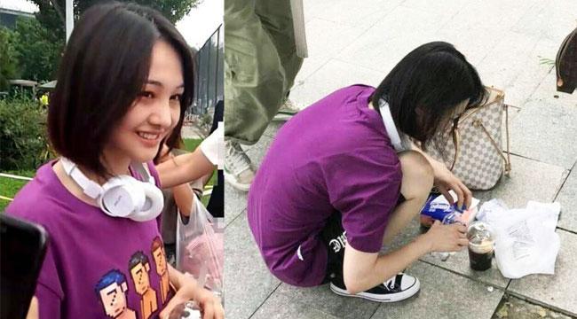 网友在北京高校偶遇郑爽:面露笑容 蹲地上整理饮料