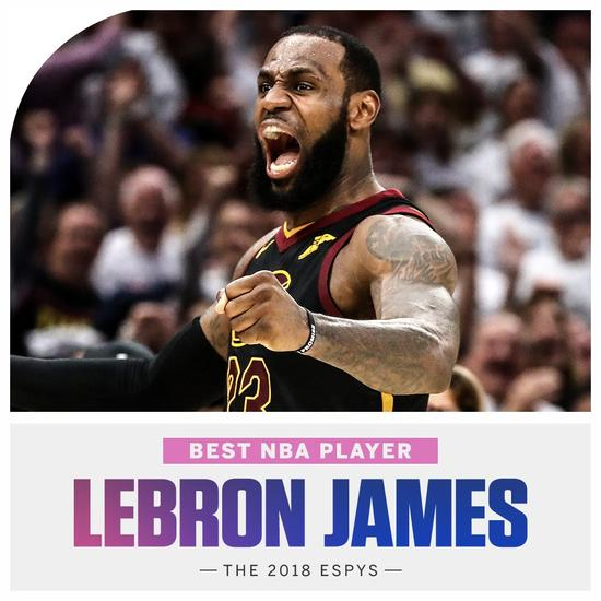 ESPY颁奖:詹姆斯NBA最佳球员 哈登无缘最佳男运动员