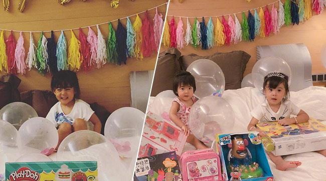 贾静雯修杰楷为女儿庆祝生日 咘咘戴皇冠开怀大笑