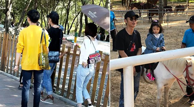 张丹峰夫妇带女儿动物园骑马 身边疑似已换男助理
