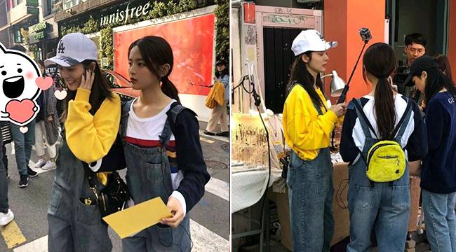網友韓國偶遇楊超越傅菁 小姐姐們穿背帶褲清新又隨性