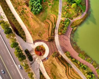 航拍合肥四季花海公园:秋日里的色彩斑斓