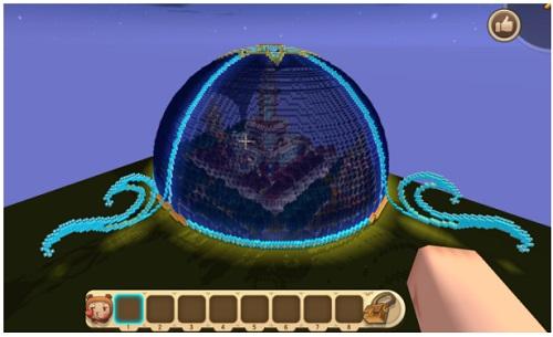 迷你世界玩家制作梦幻水晶球 内藏美丽城堡