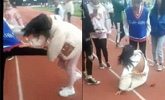 中学操场一女生被多人殴打 校方通报:不存在霸凌