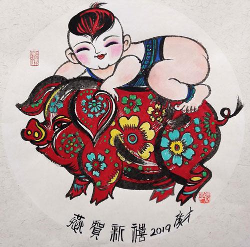 """著名画家张广才将携""""中国佩奇""""在纽约时代广"""