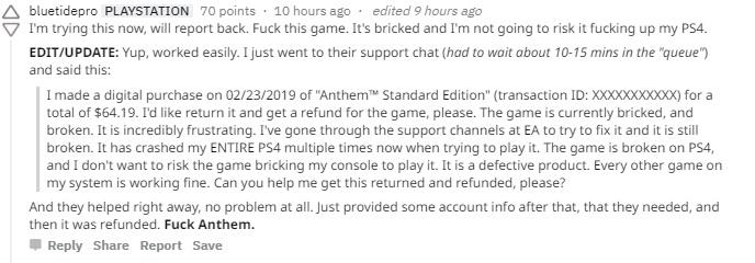 玩《圣歌》PS4崩溃死机 玩家申请退款索尼照准