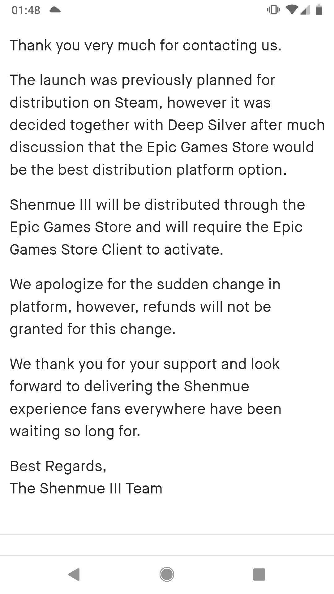 《莎木3》转换发售平台引发玩家怒火 要求退款