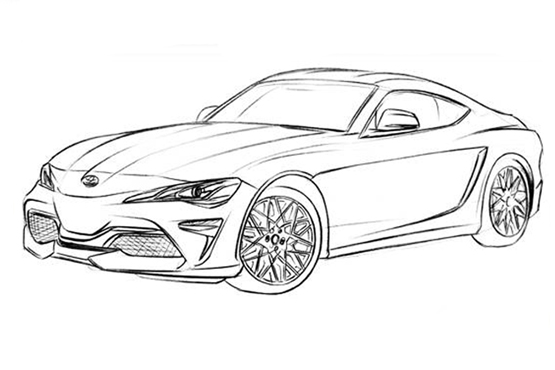 跑车设计图手绘线稿