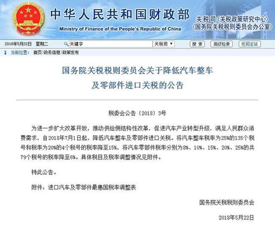 财政部:进口车关税从25%下调至15%