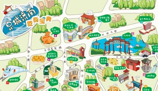 山东推出首张手绘美食地图 汇集济南155家店铺