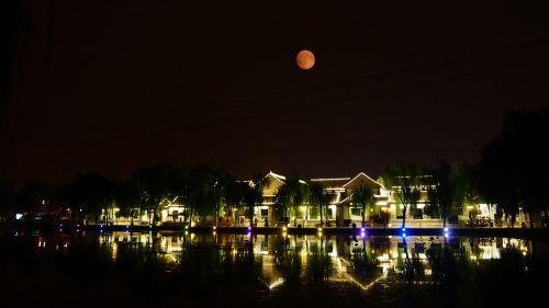 秦皇岛夜景月亮
